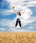 Flying Young Summer Woman — Stock Photo