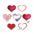 Set Valentines hearts — Stock Vector