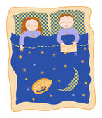 Sleep in family bed — Stock Vector