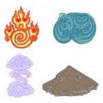 Oriental symbols of elements — Stock Vector