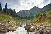 Landscape river in mountain Central Asia — Stock Photo
