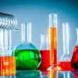 Test tubes with colorful liquids - Stock Photo