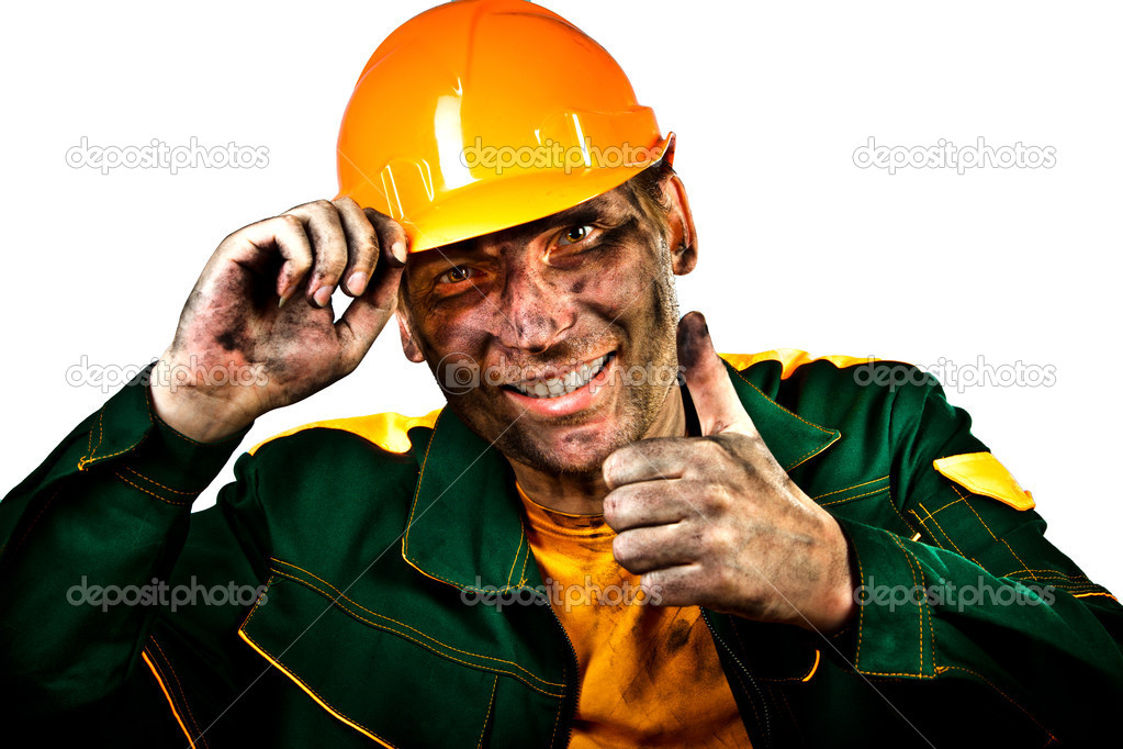 Oil industry worker on a white background  Stock Photo #9809175