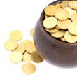 Ceramic pot with metal money — Stock Photo