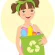Little girl holding recycling bin — Stock Vector