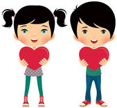 Girl and boy give valentine — Stock Vector