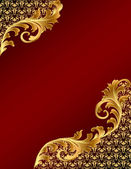 Brown background with gold(en) ornament — Vector de stock