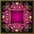 Violet background frame with gold(en) pattern — Stock Vector