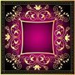 Violet background frame with gold(en) pattern — Stock Vector