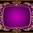 Black background with violet frame with gold(en) pattern — Stock Vector