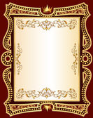 Brown background frame with gold(en) pattern — Stock Vector