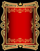 Red background frame with gold(en) pattern — Stock Vector