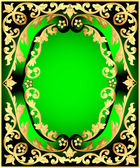 Green background with frame with vegetable gold(en) pattern — Stock Vector