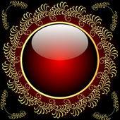 Tle ze szklanej kuli i gold(en) wzór — Wektor stockowy