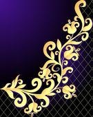 Violet background frame with vegetable gold(en) pattern and net — Stock Vector