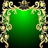 Green background frame with vegetable gold(en) pattern — Stockvektor