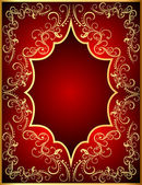 Red background with frame with gold(en)(en) by ornament — Stock vektor