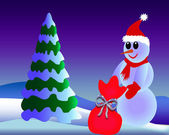 Snowman with gift — Stock Photo