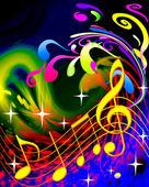 Las ondas y la música de ilustración — Foto de Stock