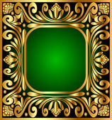 Square frame with gold(en) antique pattern — Stock Vector