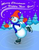 Hombre de nieve en patines con felicitaciones — Vector de stock