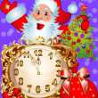 Watch and santa with fir tree — Vector de stock