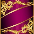 Background with gold(en) ornament and lilac band — Stok Vektör