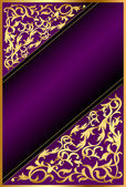 Background with gold(en) ornament and violet band — Stockvektor