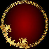 Frame with gold(en) pattern on circle — Stockvector