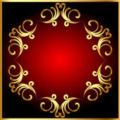 Frame background with gold(en) pattern on circle — Stock Vector