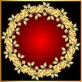 фон с золотом роза на круг — Cтоковый вектор