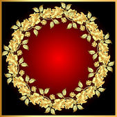 Background with gold(en) rose on circle — 图库矢量图片