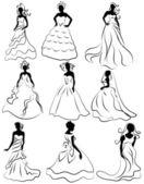 Sagoma kit delle spose in carica di nozze — Vettoriale Stock