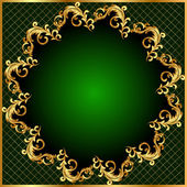 Background pattern gold on green background — Stock Vector