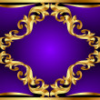 Violet background with gold(en) ornament — Stock Vector