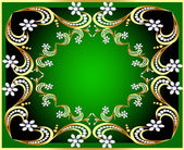 Green background with gold(en) pattern and pearl — 图库矢量图片