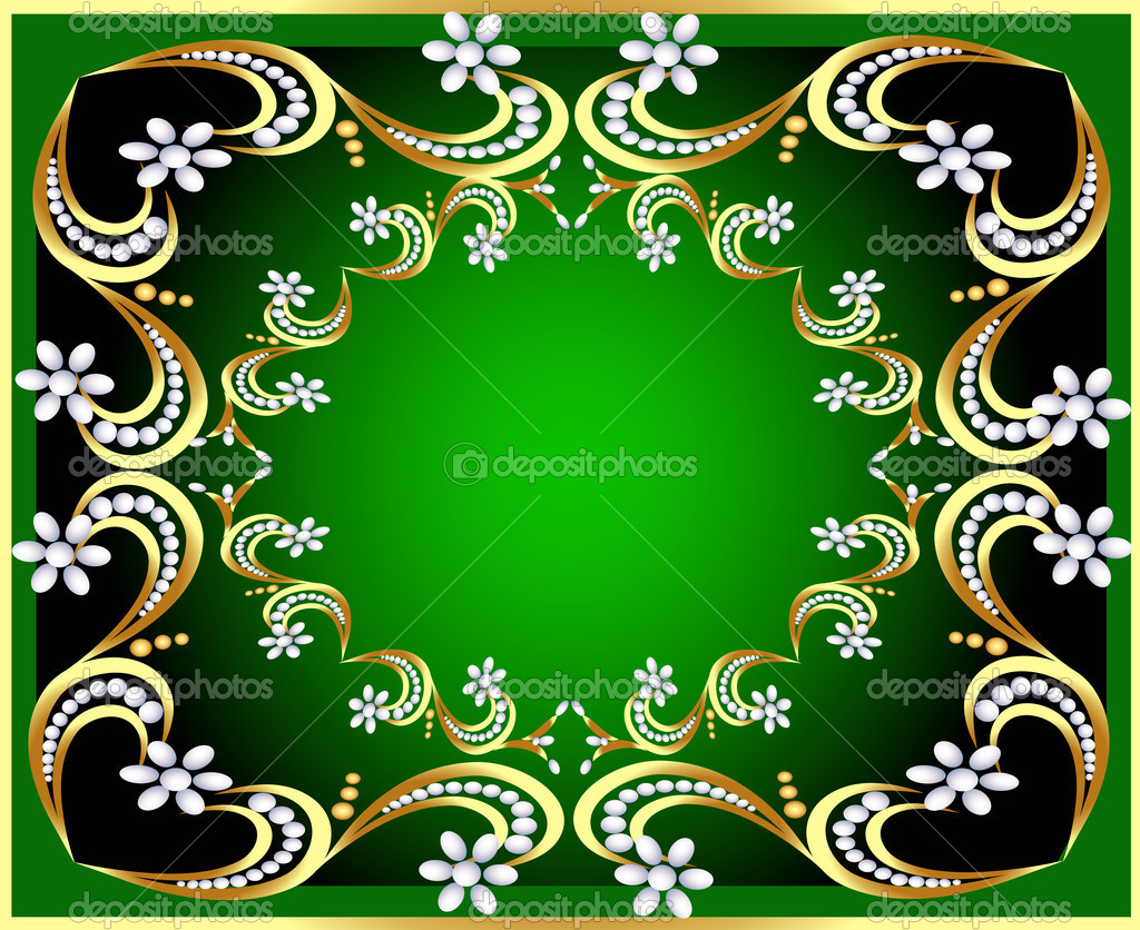 Illustration green background with gold(en) pattern and pearl — Stock Vector #9142312