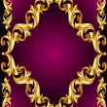 Frame with gold(en) pattern on violet background — Stock Vector