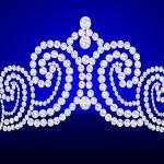 Diadem feminine wedding on turn blue background — Stock Vector