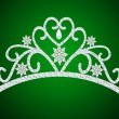 Diadem feminine wedding with pearl on green — Векторная иллюстрация