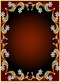 Frame with gold(en) pattern and flower from pearl — Stock Vector