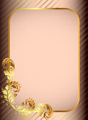Frame background with gold(en) pattern and band — Vector de stock