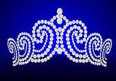 Diadem feminine wedding on turn blue background — Cтоковый вектор