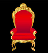 Old chair red with gold ornament on black — Stockvector
