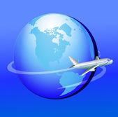 Plane flies around globe in journey — Stock Vector