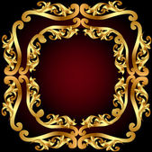 Gold(en) frame with gold(en) vegetable ornament — Wektor stockowy