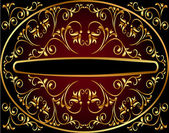 Background by round frame and gold pattern — 图库矢量图片