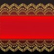 Stock Vector: Red background with gold(en) pattern and net
