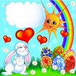 Stock Vector: Easter background with egg and amusing rabbit and rainbow