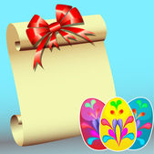 Paper for message with bow and peaster stickers ÿèö — Stockvektor